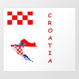 Croatia map/flag Art Print