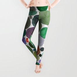 Green dots heart Leggings
