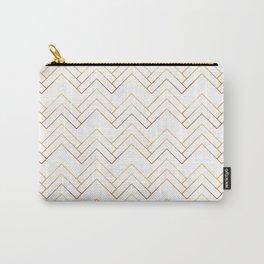 Art Deco Chevron Lines Bg White Carry-All Pouch