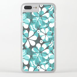 Turquoise Floral Clear iPhone Case