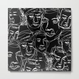 Beijing Subway Faces Drawing Metal Print