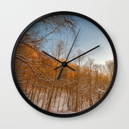 Golden Winter Forest Wall Clock