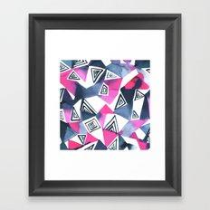 Geo Triangle Pink Navy Framed Art Print