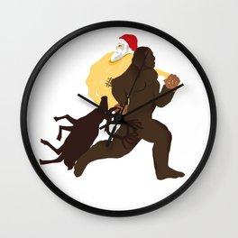 Bigfoot kidnapping Santa Claus his gifts and his reindeer Wall Clock