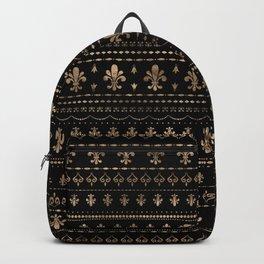 Fleur-de-lis pattern black and gold Backpack