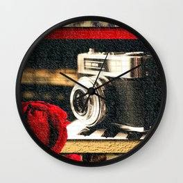Vintage Camera Piano Leopard & Red Rose Wall Clock