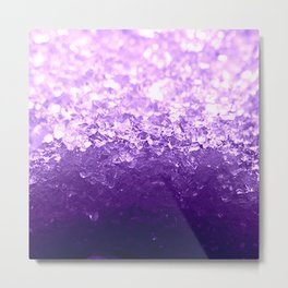 Purple Ombre Crystals Metal Print