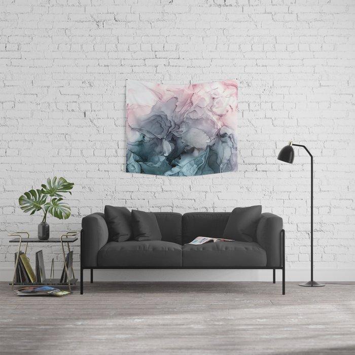 Blush and Payne's Grey Flowing Abstract Painting Wandbehang