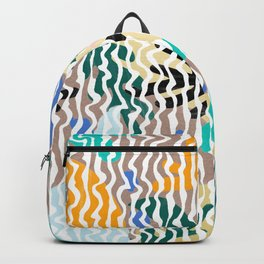 Abstract Yellow Green Pink Orange Geometrical Stripes Floral Backpack