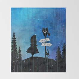 Any Road Will Get You There - Alice In Wonderland Throw Blanket