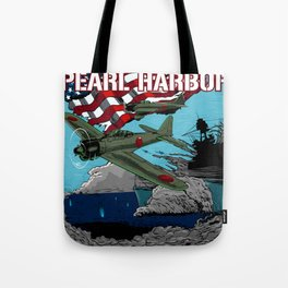 Attack on Pearl Harbor illustration. Tote Bag