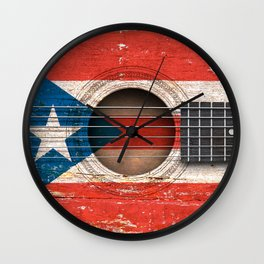 Old Vintage Acoustic Guitar with Puerto Rican Flag Wall Clock