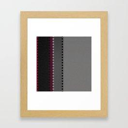 Modern Burgundy Grey Black Stripe Dot Pattern Framed Art Print