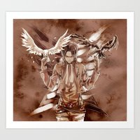 snk Art Prints featuring SnK-Wing of freedom by Gin-Uzumaki