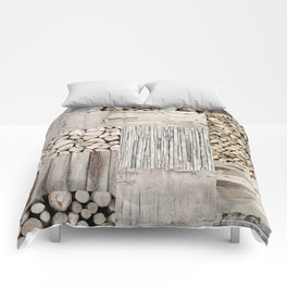 Wood Collage rustic weathered Comforters