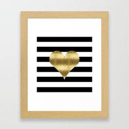 gold heart black and white stripe Framed Art Print