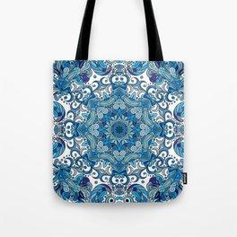 Blue Boho Mandela Pattern Tote Bag