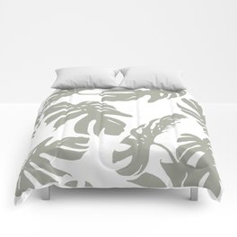 Simply Retro Gray Palm Leaves on White Comforters