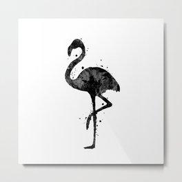 Flamingo Bird Art Gift Black and White Art Birdlovers Art Wildlife Nature Art Metal Print