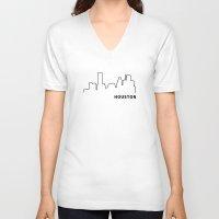 houston V-neck T-shirts featuring Houston by Fabian Bross