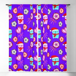 Baby bears with red Santa hats, vintage retro lollipops candy. Cute Christmas purple pattern Blackout Curtain