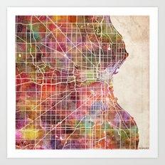 Milwaukee map Art Print