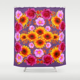 Red Pink Roses Golden Sunflowers Puce Art Shower Curtain
