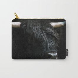Minimalist Black Scottish Highland Cattle Portrait - Animal Photography Carry-All Pouch