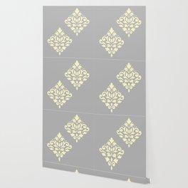 Scroll Damask Art I Yellow on Grey Wallpaper