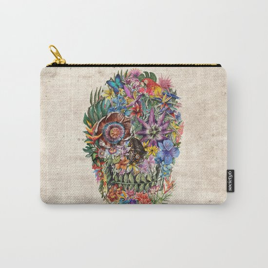 tropilcal floral skull 5 Carry-All Pouch