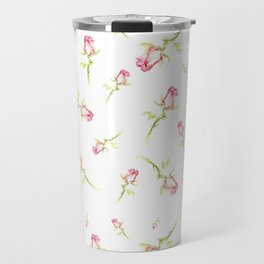 Single Hand Painted Watercolor Pink Red Rose Travel Mug