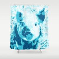 piglet Shower Curtains featuring Sweet Piglet,aqua toony by MehrFarbeimLeben