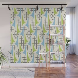 Mid Century Modern Atomic Wing Composition 92 Blue Chartreuse and Gray Wall Mural