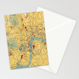 Vintage map of Central London Stationery Cards