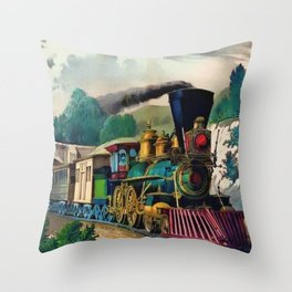 1870 Currier & Ives Steam Locomotive - The Express Train Lithograph Throw Pillow