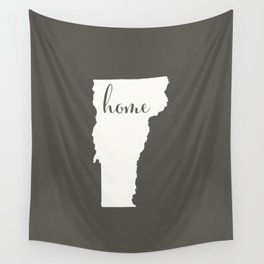 Vermont is Home - White on Charcoal Wall Tapestry