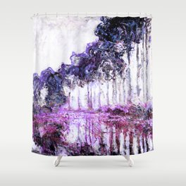 Monet Poplars on the Banks of the River Epte Magenta Violet Shower Curtain