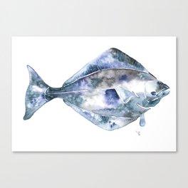 Flat Fish Watercolor Canvas Print
