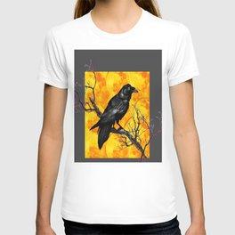 Grey & Gold Pattern  Crow Wildlife Art T-shirt