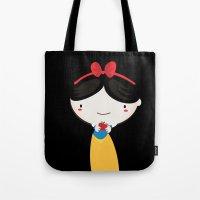 snow white Tote Bags featuring Snow white by Maria Jose Da Luz