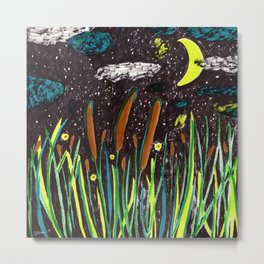 Summer Cattails Metal Print
