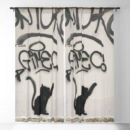 Cat Street Art in Milano Blackout Curtain