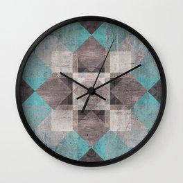 Aqua & Brown Quilt Wall Clock