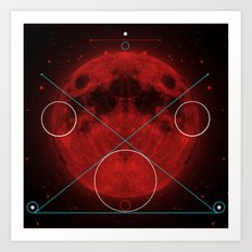 Red Moon Graphish. Art Print