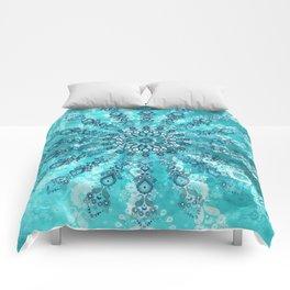 turquoise mandala Comforters