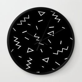 Inverted Black and White Zig Zag Print Wall Clock