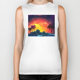 Sunset Vaporwave landscape with rocks and palms Biker Tank