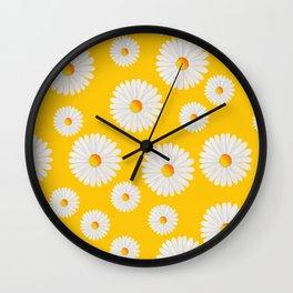 Yellow Daisy Repeat Wall Clock