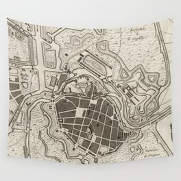 Vintage Map of Dunkirk France (1764) Wall Tapestry