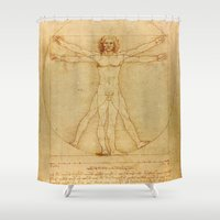 da vinci Shower Curtains featuring  Leonardo da Vinci, Vitruvian Man by Mirakyan